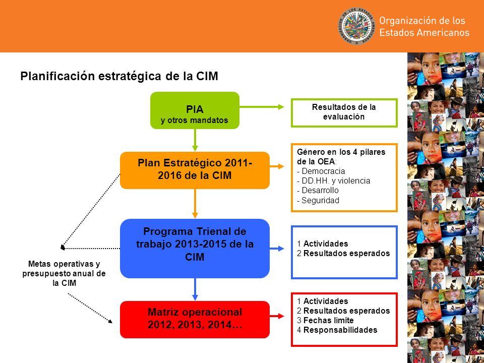 Plan Estratégico 2011-2016 de la CIM Objetivos: –Posicionar a la CIM como el foro político hemisférico y referente para la construcción de la ciudadanía plena de las mujeres, desde una visión de derechos humanos –Fortalecer la articulación y armonización de las acciones de la CIM con las de la OEA – sus secretarías, departamentos, agencias especializadas, foros y otras instancias –Lograr la institucionalización del enfoque de derechos y de igualdad de género en el trabajo de la OEA – sus mandatos, políticas, programas y proyectos