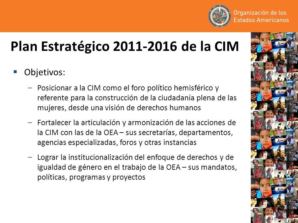 Plan Estratégico 2011-2016 de la CIM Objetivos: –Posicionar a la CIM como el foro político hemisférico y referente para la construcción de la ciudadan