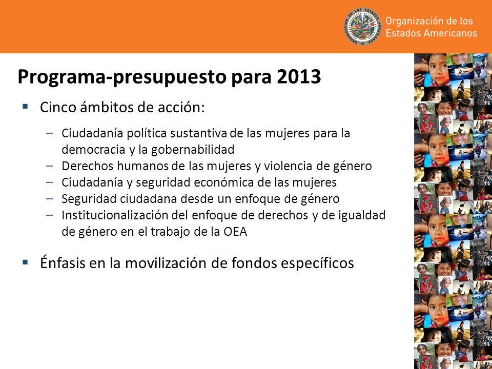 Programa-presupuesto para 2013 Cinco ámbitos de acción: –Ciudadanía política sustantiva de las mujeres para la democracia y la gobernabilidad –Derecho