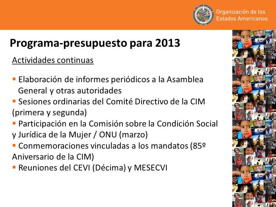Programa-presupuesto para 2013 Actividades continuas Elaboración de informes periódicos a la Asamblea General y otras autoridades Sesiones ordinarias