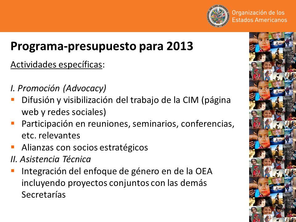 Programa-presupuesto para 2013 Actividades específicas: I. Promoción (Advocacy) Difusión y visibilización del trabajo de la CIM (página web y redes so