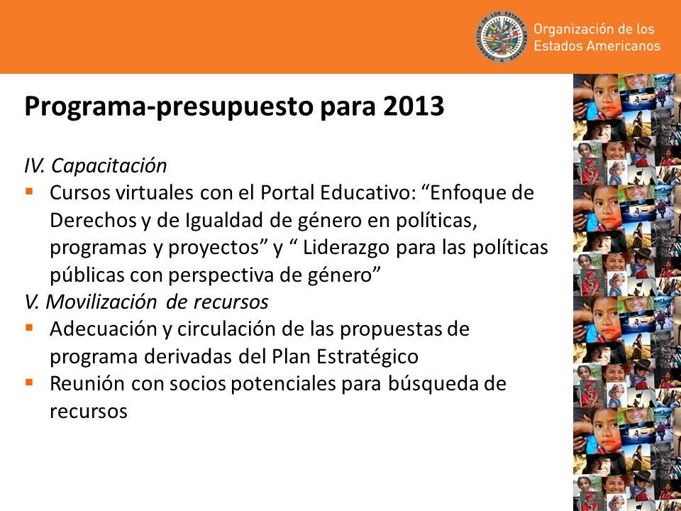 Programa - Presupuesto para 2013 La Asamblea General de la OEA ha reiterado (12 Resoluciones) que, …los recursos humanos y financieros asignados a la CIM continúan siendo insuficientes para cumplir en forma efectiva con todos sus mandatos –De los 1,700+ mandatos de la OEA, la CIM tiene más de 250 (15.4%) –De acuerdo con la propuesta de presupuesto del Fondo Regular 2013, a la CIM le correspondería el 1.59% –Del personal de la OEA a 30 de junio de 2012, la CIM cuenta con el 1.29% (6 funcionarias) del Fondo Regular –Entre 2010 y 2011/ 2012 y 2013 el presupuesto de no personal de la CIM se redujo en un 7.10%.