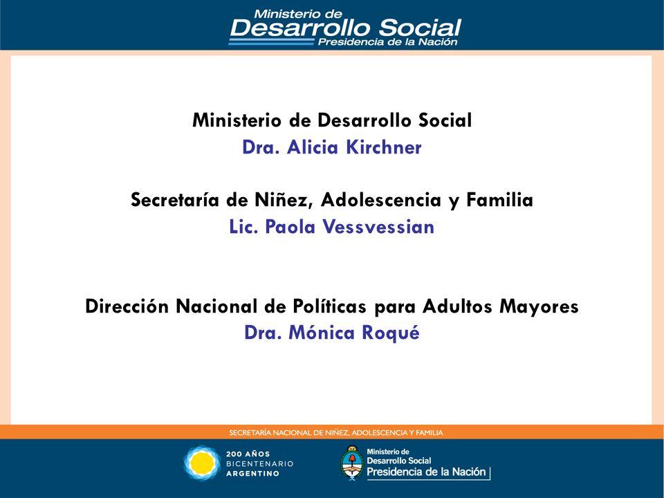 Ministerio de Desarrollo Social Dra. Alicia Kirchner Secretaría de Niñez, Adolescencia y Familia Lic. Paola Vessvessian Dirección Nacional de Política