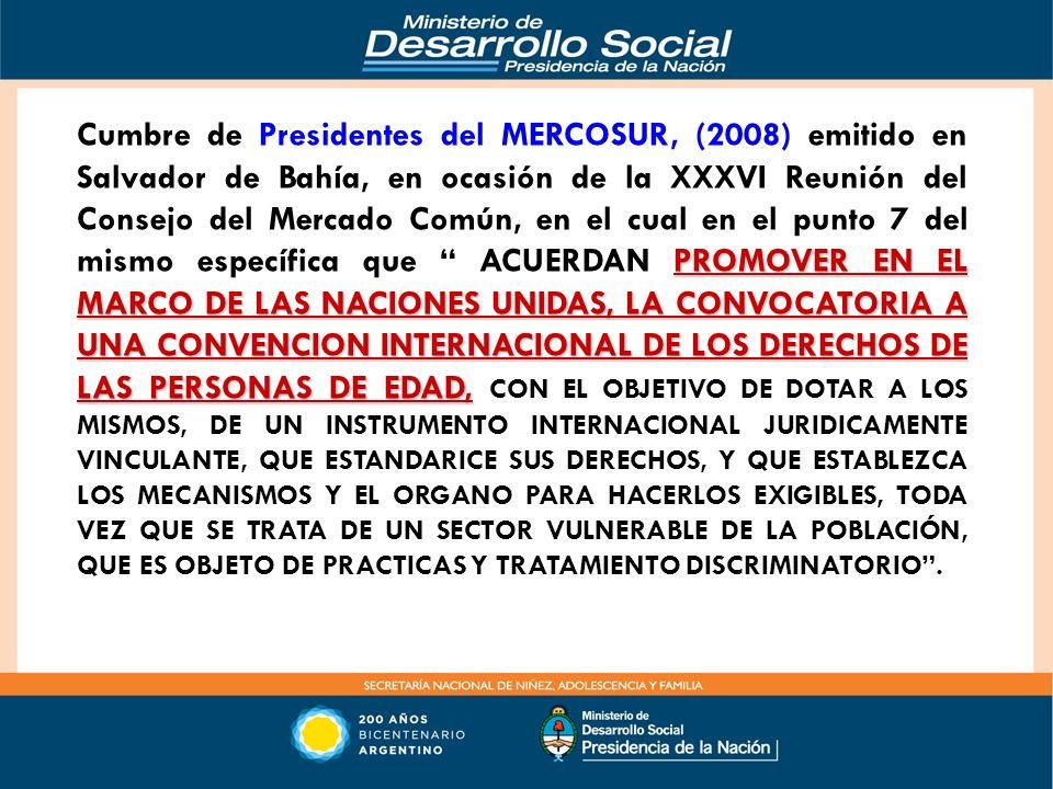 PROMOVER EN EL MARCO DE LAS NACIONES UNIDAS, LA CONVOCATORIA A UNA CONVENCION INTERNACIONAL DE LOS DERECHOS DE LAS PERSONAS DE EDAD, Cumbre de Preside
