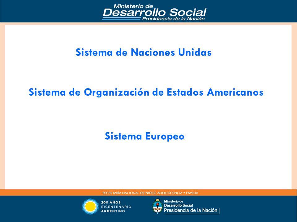 Sistema de Naciones Unidas Sistema de Organización de Estados Americanos Sistema Europeo