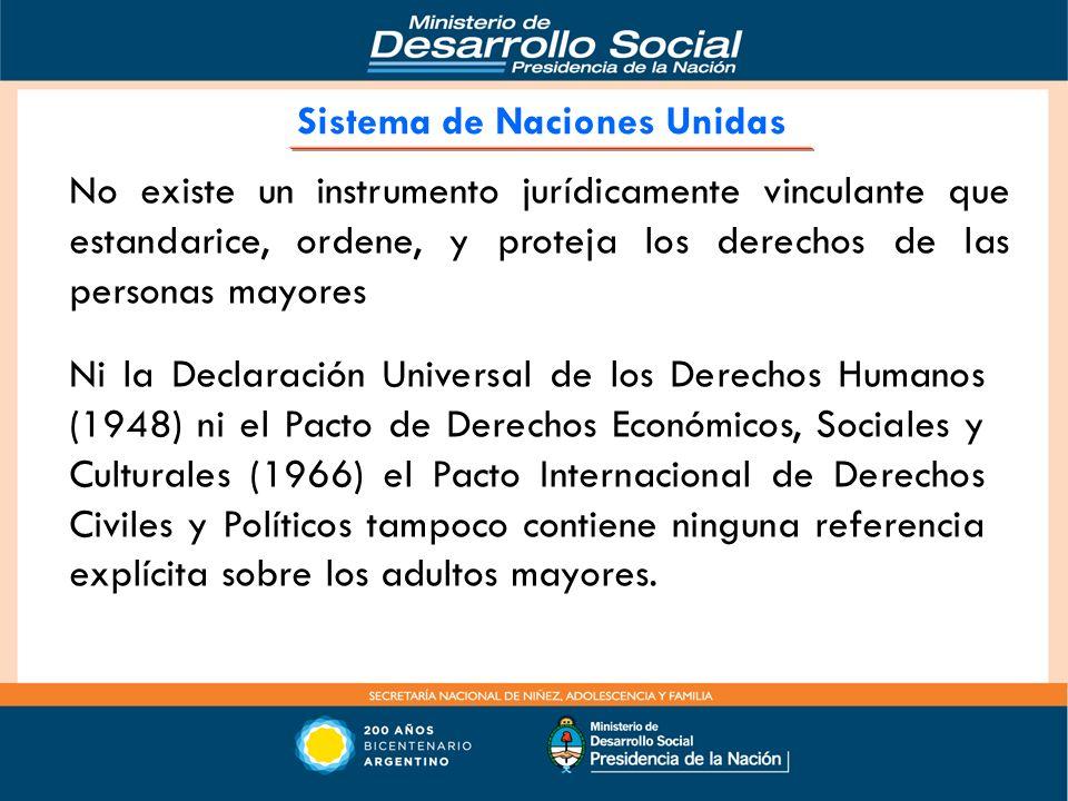 No existe un instrumento jurídicamente vinculante que estandarice, ordene, y proteja los derechos de las personas mayores Ni la Declaración Universal