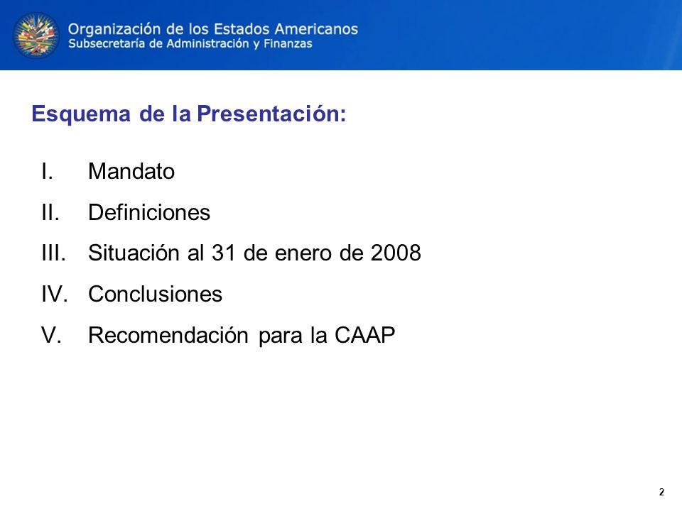 I. Mandato II. Definiciones III. Situación al 31 de enero de 2008 IV.