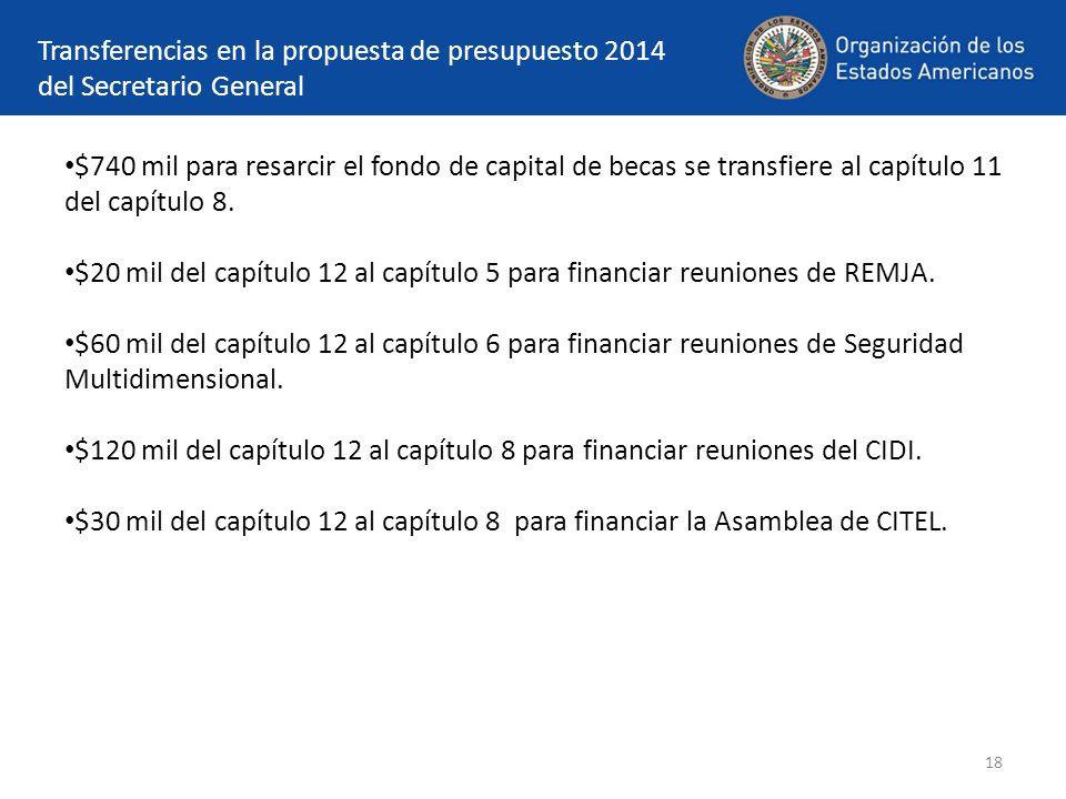 18 Transferencias en la propuesta de presupuesto 2014 del Secretario General $740 mil para resarcir el fondo de capital de becas se transfiere al capítulo 11 del capítulo 8.