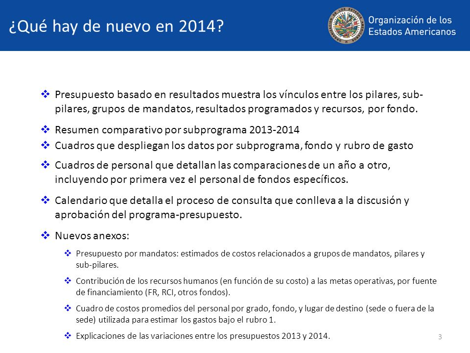 14 Cambios estructurales 2014 (cont.) En el capítulo 12, se despliegan apropiaciones separadas para las reuniones de la Organización Reuniones del Consejo Permanente (123D) Consejo Permanente (123D) Comisión Preparatoria (123E) Comisión General (123F) Comisión de Asuntos Jurídicos y Políticos (123G) Comisión de Seguridad Hemisférica (123H) Comisión de Asuntos Administrativos y Presupuestarios (123I) Reuniones de la CISC (123L) Asambleas Generales Extraordinarias (123K) Reuniones no programadas (123C) Reuniones de REMJA (53E) Reuniones de Multidimensional Security (63H) Reuniones de CITEL Assembly (83J) Reuniones de CIDI (83K)