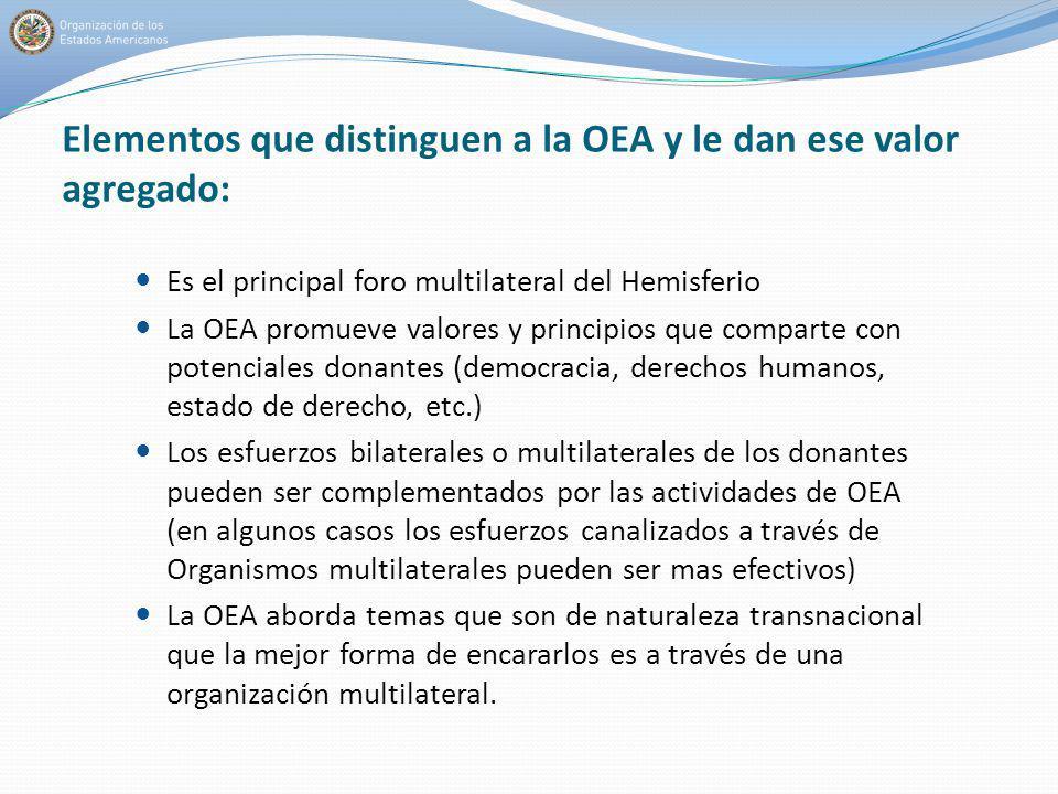 Elementos que distinguen a la OEA y le dan ese valor agregado: Es el principal foro multilateral del Hemisferio La OEA promueve valores y principios q