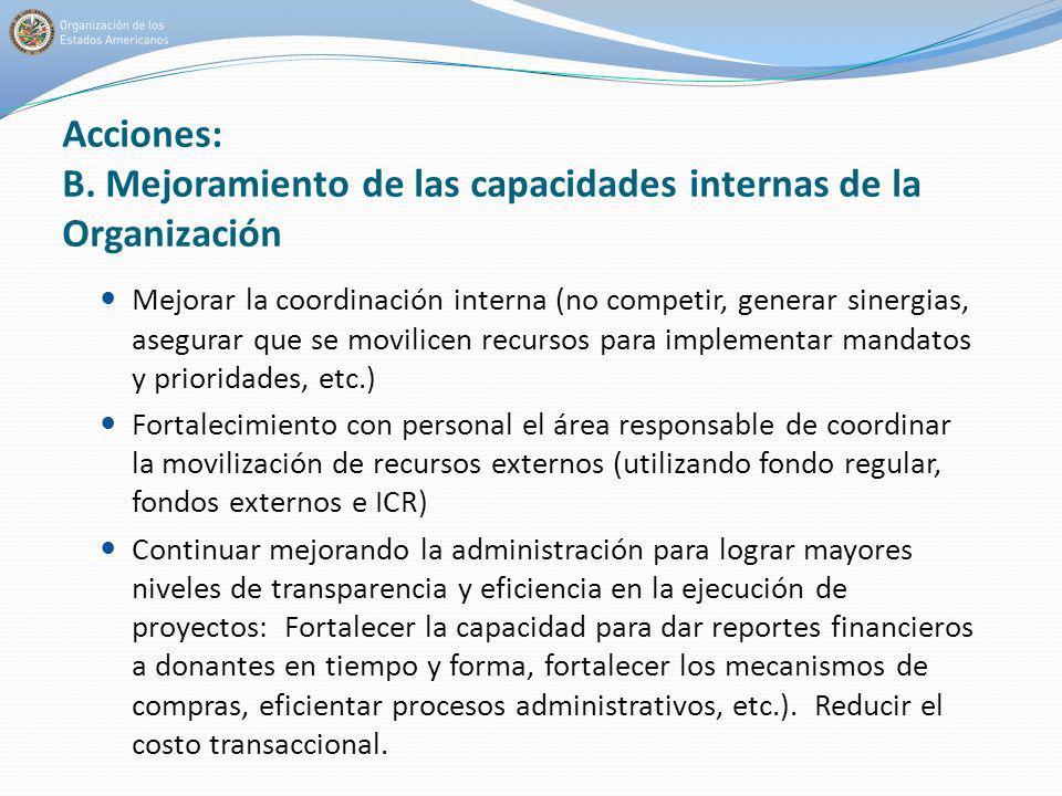 Acciones: B. Mejoramiento de las capacidades internas de la Organización Mejorar la coordinación interna (no competir, generar sinergias, asegurar que