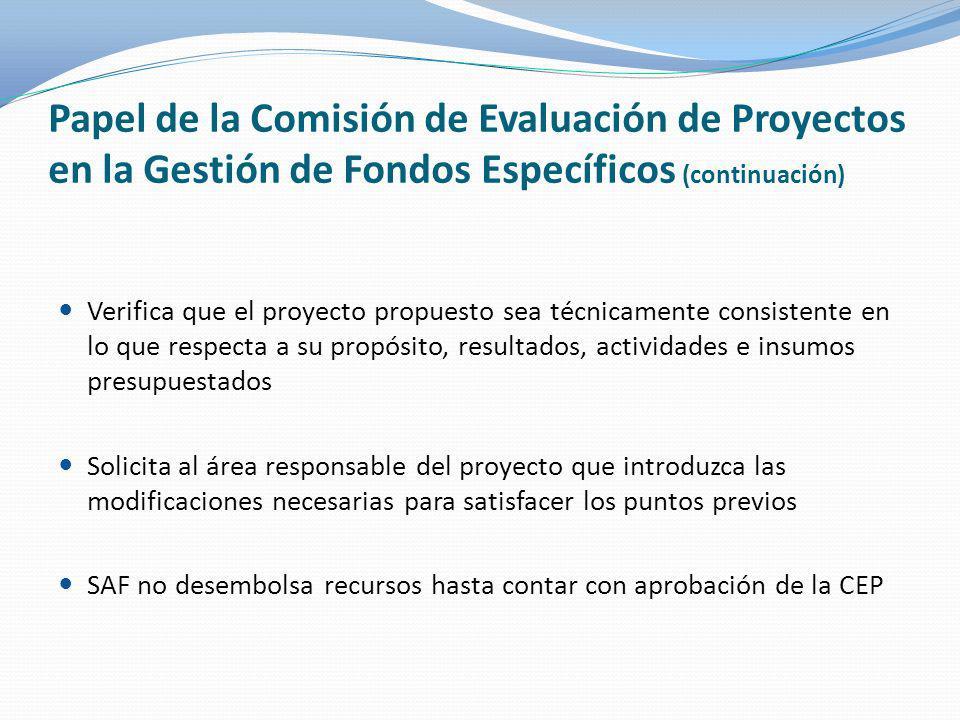 Papel de la Comisión de Evaluación de Proyectos en la Gestión de Fondos Específicos (continuación) Verifica que el proyecto propuesto sea técnicamente