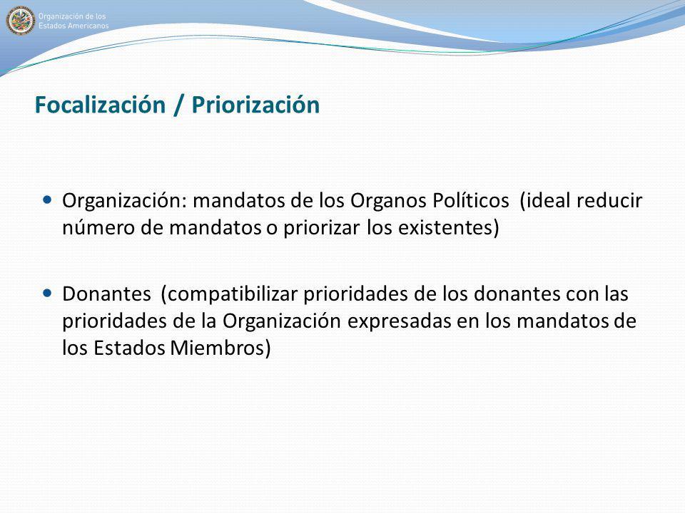 Focalización / Priorización Organización: mandatos de los Organos Políticos (ideal reducir número de mandatos o priorizar los existentes) Donantes (co