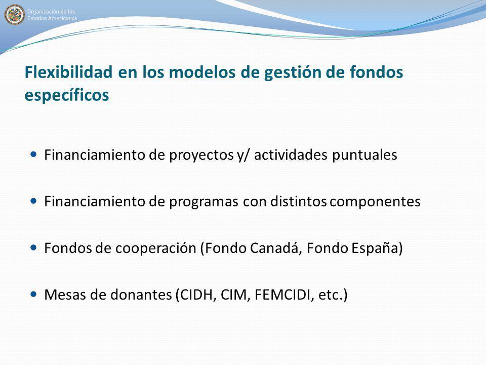 Flexibilidad en los modelos de gestión de fondos específicos Financiamiento de proyectos y/ actividades puntuales Financiamiento de programas con dist