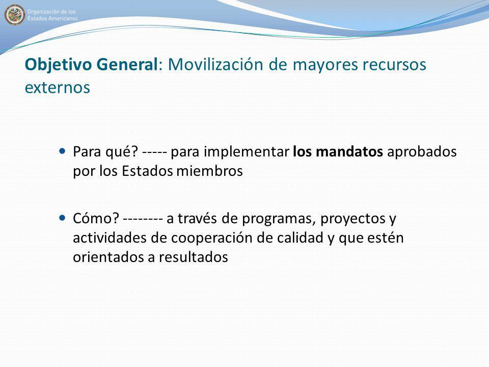 Objetivo General: Movilización de mayores recursos externos Para qué? ----- para implementar los mandatos aprobados por los Estados miembros Cómo? ---