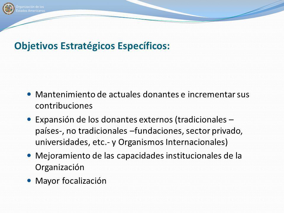 Objetivos Estratégicos Específicos: Mantenimiento de actuales donantes e incrementar sus contribuciones Expansión de los donantes externos (tradiciona