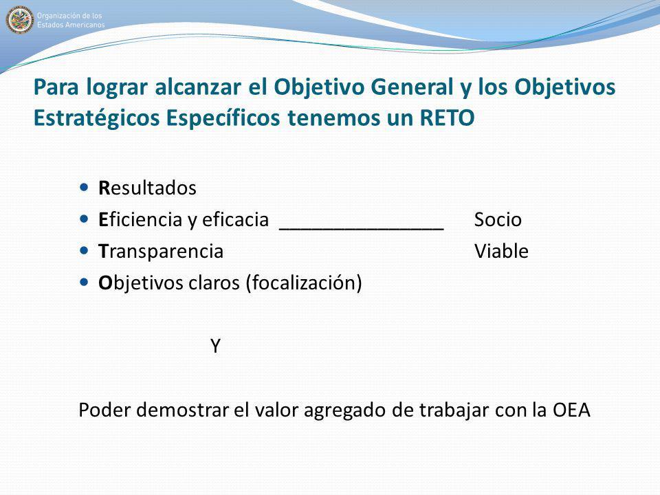 Para lograr alcanzar el Objetivo General y los Objetivos Estratégicos Específicos tenemos un RETO Resultados Eficiencia y eficacia _______________Soci