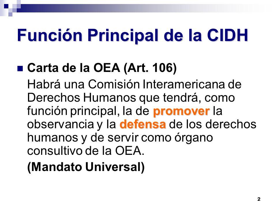 2 Función Principal de la CIDH Carta de la OEA (Art. 106) promover defensa Habrá una Comisión Interamericana de Derechos Humanos que tendrá, como func