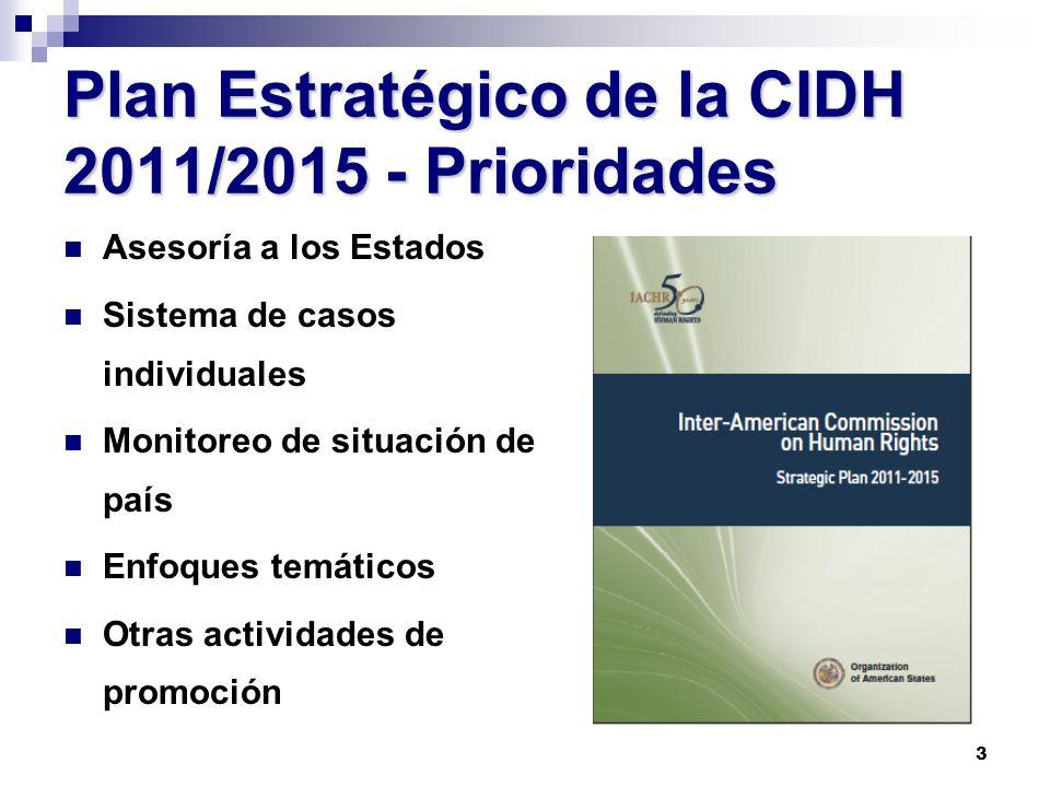 3 Plan Estratégico de la CIDH 2011/2015 - Prioridades Asesoría a los Estados Sistema de casos individuales Monitoreo de situación de país Enfoques tem