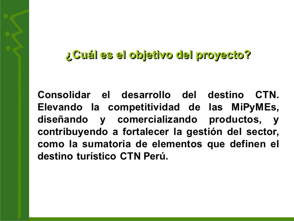 ¿Cuál es el objetivo del proyecto? Consolidar el desarrollo del destino CTN. Elevando la competitividad de las MiPyMEs, diseñando y comercializando pr