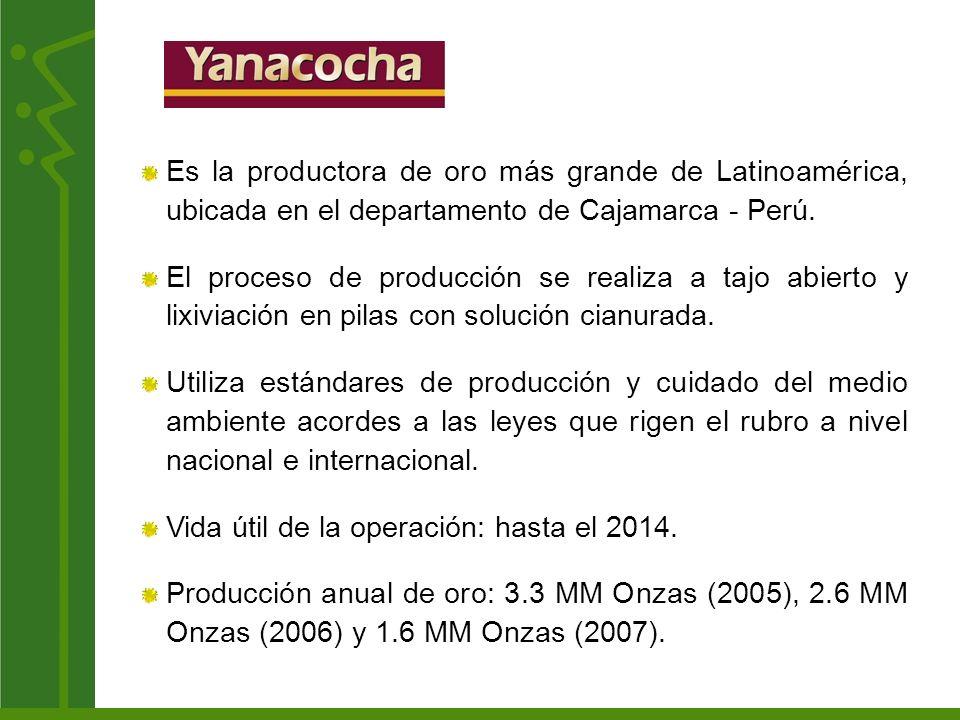 Es la productora de oro más grande de Latinoamérica, ubicada en el departamento de Cajamarca - Perú. El proceso de producción se realiza a tajo abiert