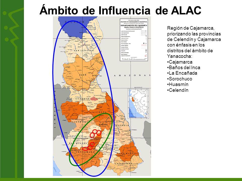 Ámbito de Influencia de ALAC Región de Cajamarca, priorizando las provincias de Celendín y Cajamarca con énfasis en los distritos del ámbito de Yanaco