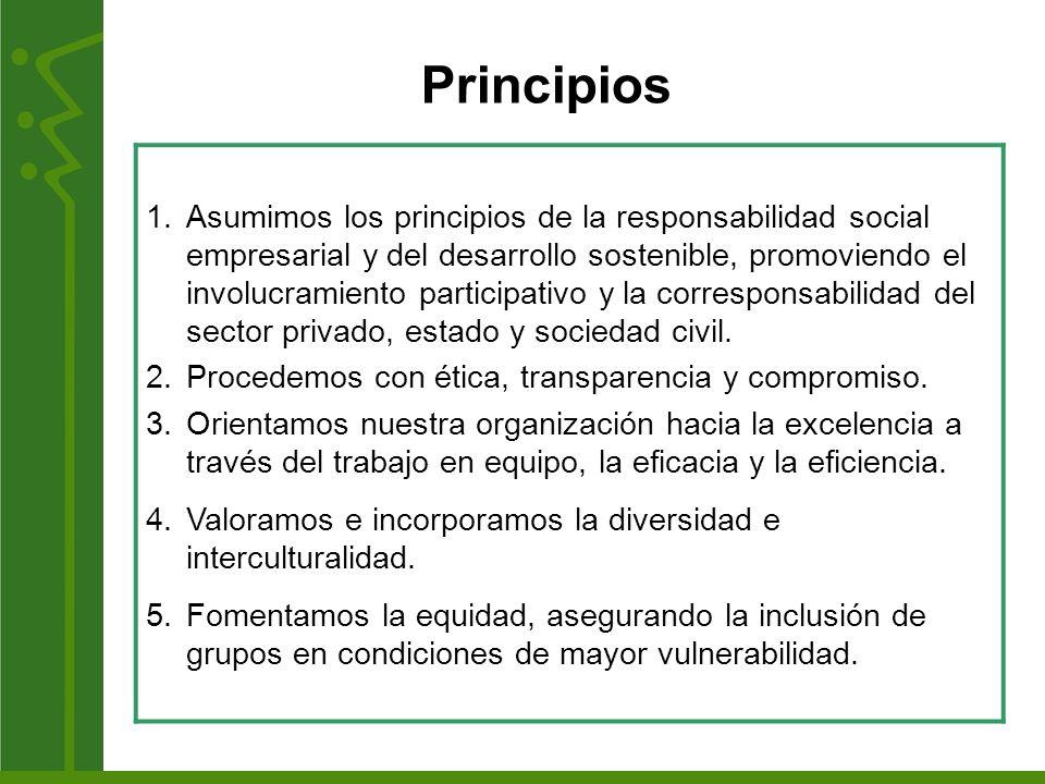 Principios 1.Asumimos los principios de la responsabilidad social empresarial y del desarrollo sostenible, promoviendo el involucramiento participativ