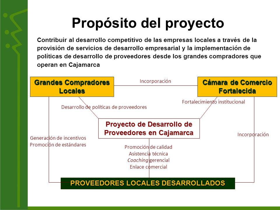 Fortalecimiento institucional Incorporación Contribuir al desarrollo competitivo de las empresas locales a través de la provisión de servicios de desa
