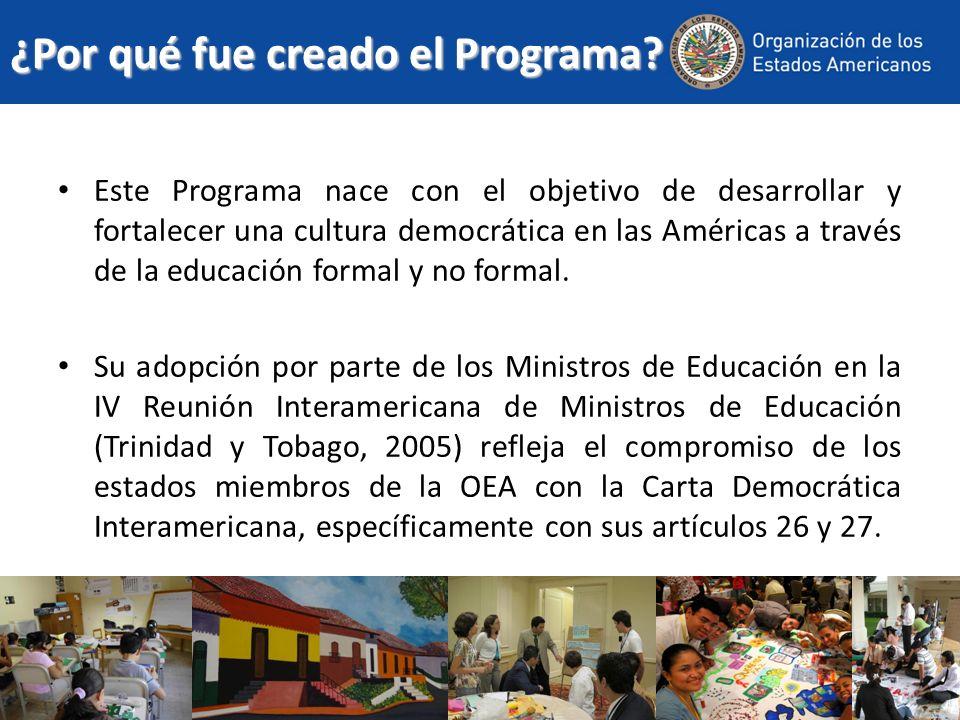 Objetivos Específicos Las actividades del Programa se encuentran orientadas específicamente a construir y fortalecer las capacidades de las instituciones públicas, privadas y de la sociedad civil de los estados miembros de la OEA para desarrollar políticas, programas e iniciativas en el ámbito de la educación ciudadana.