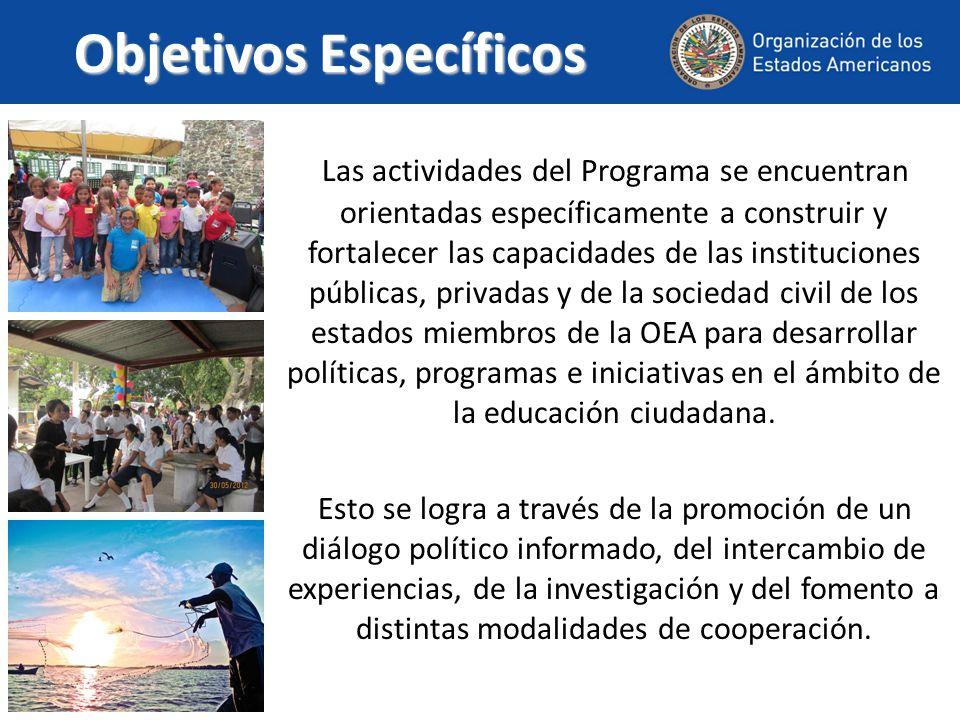 Objetivos Específicos Las actividades del Programa se encuentran orientadas específicamente a construir y fortalecer las capacidades de las institucio