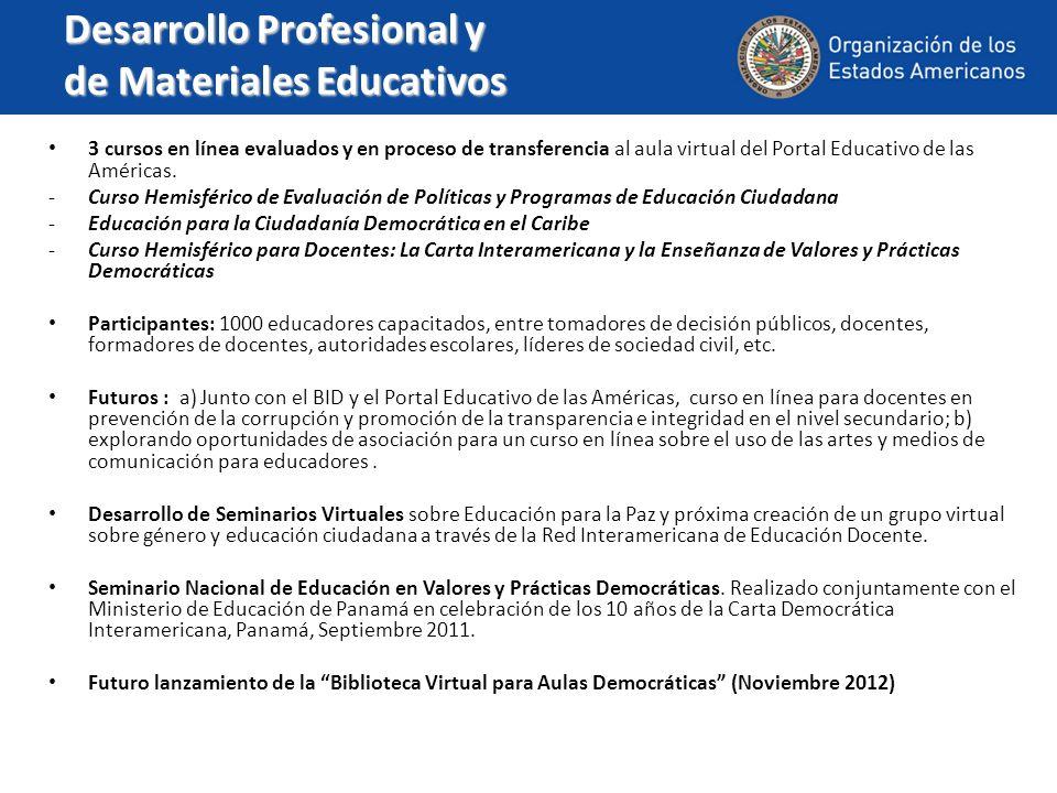 Desarrollo Profesional y de Materiales Educativos 3 cursos en línea evaluados y en proceso de transferencia al aula virtual del Portal Educativo de la