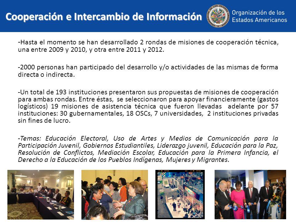 Cooperación e Intercambio de Información - Hasta el momento se han desarrollado 2 rondas de misiones de cooperación técnica, una entre 2009 y 2010, y