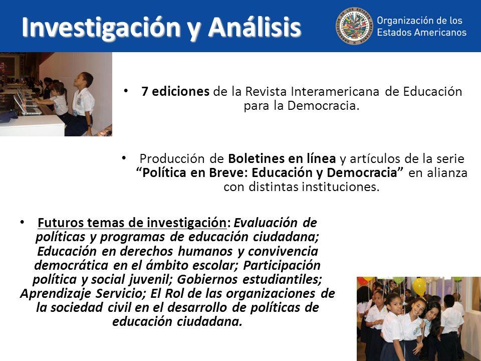 Investigación y Análisis 7 ediciones de la Revista Interamericana de Educación para la Democracia. Producción de Boletines en línea y artículos de la