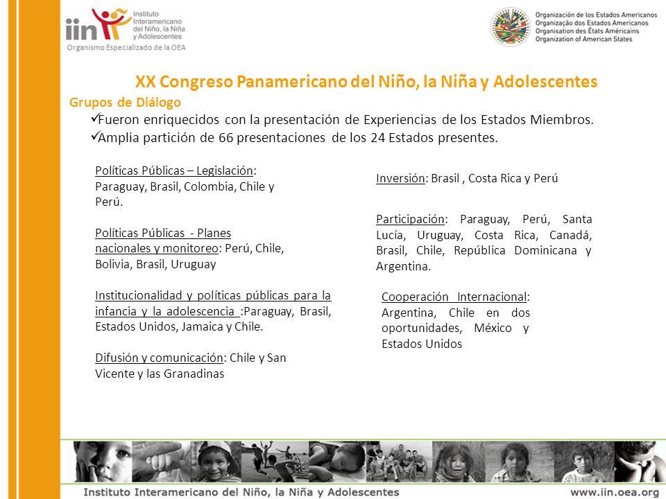 XX Congreso Panamericano del Niño, la Niña y Adolescentes Grupos de Diálogo Fueron enriquecidos con la presentación de Experiencias de los Estados Miembros.