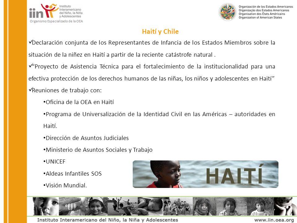 Declaración conjunta de los Representantes de Infancia de los Estados Miembros sobre la situación de la niñez en Haití a partir de la reciente catástrofe natural.