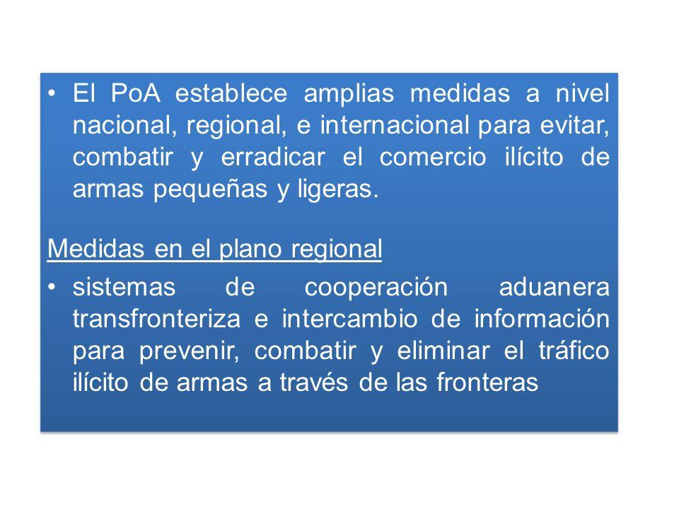 El PoA establece amplias medidas a nivel nacional, regional, e internacional para evitar, combatir y erradicar el comercio ilícito de armas pequeñas y ligeras.