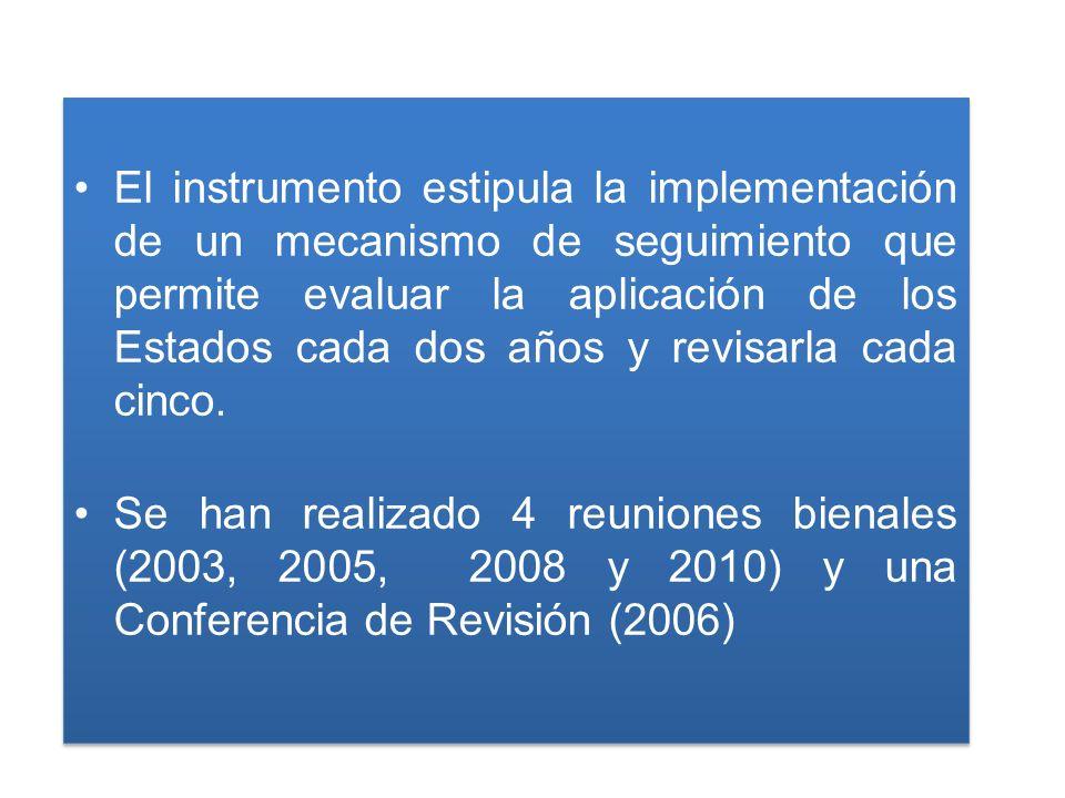 El instrumento estipula la implementación de un mecanismo de seguimiento que permite evaluar la aplicación de los Estados cada dos años y revisarla cada cinco.