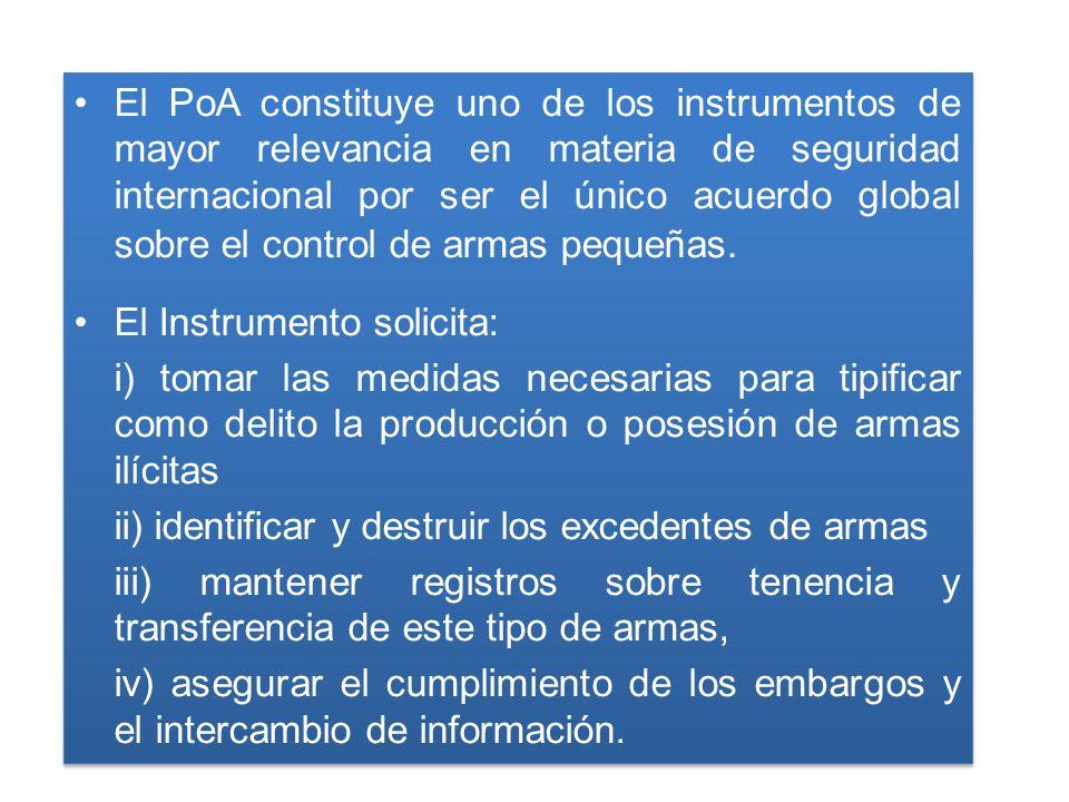 El PoA constituye uno de los instrumentos de mayor relevancia en materia de seguridad internacional por ser el único acuerdo global sobre el control de armas pequeñas.