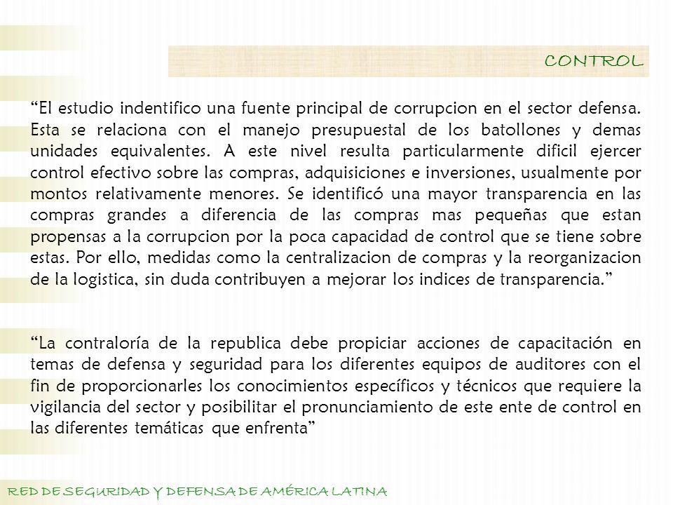 RED DE SEGURIDAD Y DEFENSA DE AMÉRICA LATINA CONTROL El estudio indentifico una fuente principal de corrupcion en el sector defensa.