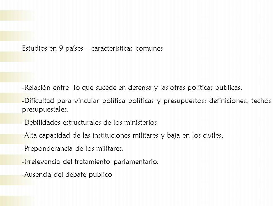 Estudios en 9 países – caracteristicas comunes -Relación entre lo que sucede en defensa y las otras políticas publicas.