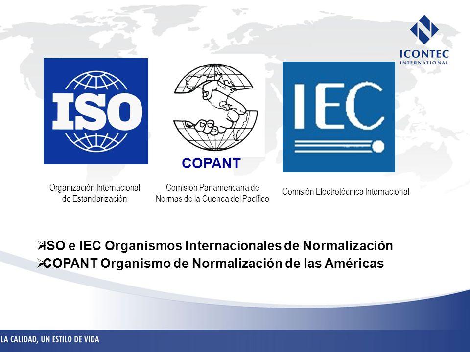ISO e IEC Organismos Internacionales de Normalización COPANT Organismo de Normalización de las Américas COPANT Comisión Electrotécnica Internacional C