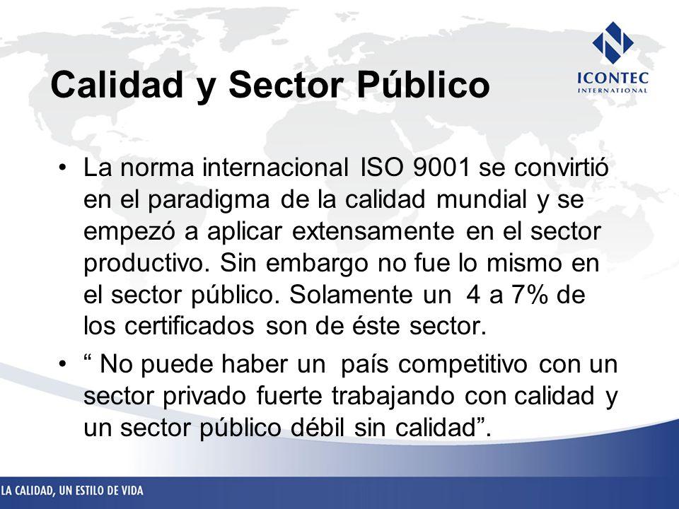 Calidad y Sector Público La norma internacional ISO 9001 se convirtió en el paradigma de la calidad mundial y se empezó a aplicar extensamente en el s