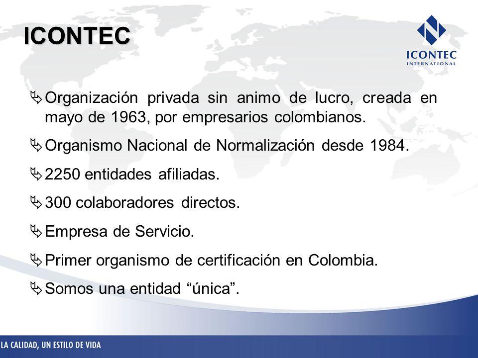 Organización privada sin animo de lucro, creada en mayo de 1963, por empresarios colombianos. Organismo Nacional de Normalización desde 1984. 2250 ent