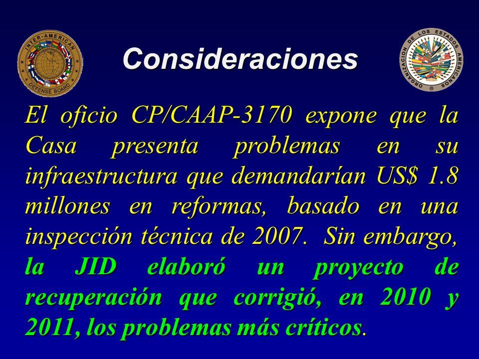 Consideraciones El oficio CP/CAAP-3170 expone que la Casa presenta problemas en su infraestructura que demandarían US$ 1.8 millones en reformas, basado en una inspección técnica de 2007.
