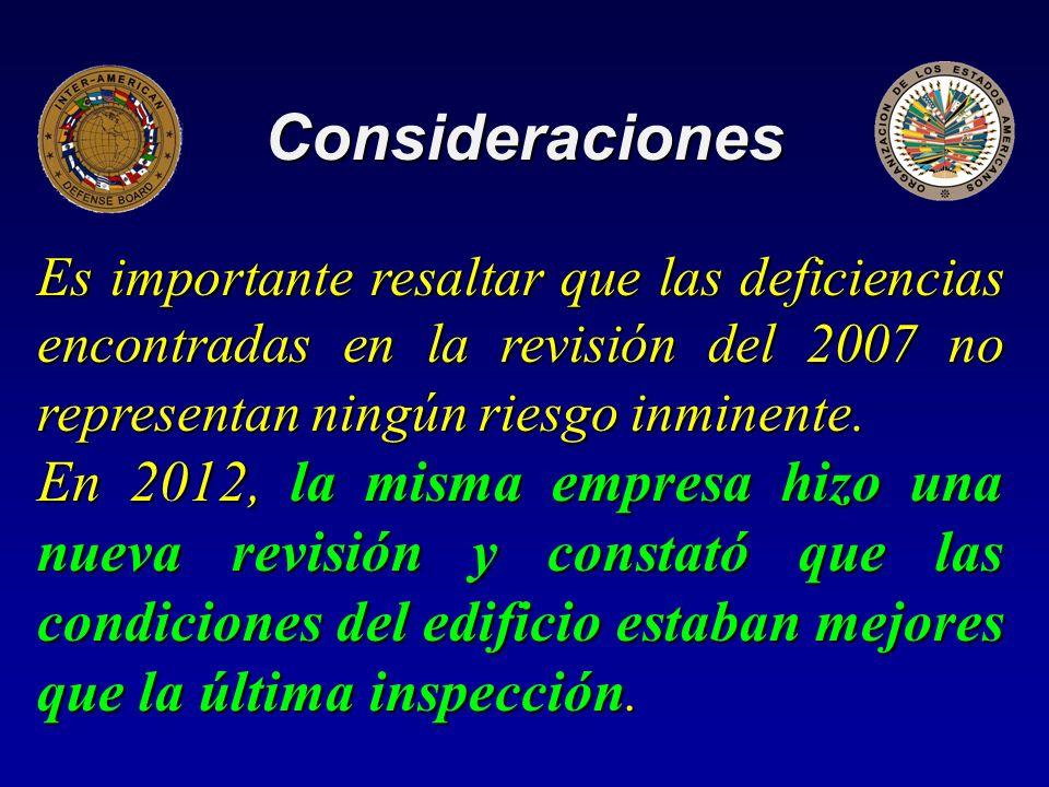 Consideraciones Es importante resaltar que las deficiencias encontradas en la revisión del 2007 no representan ningún riesgo inminente.