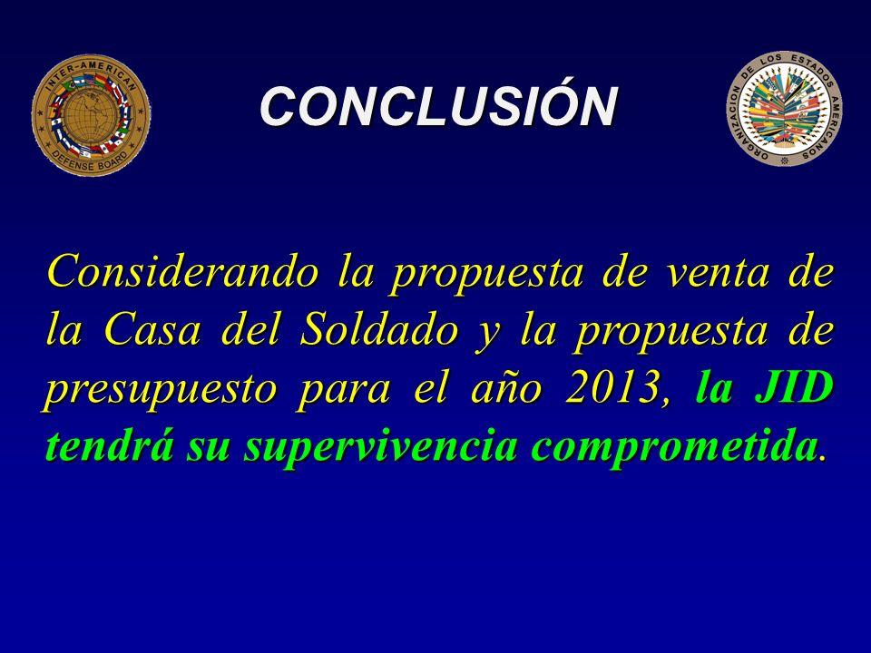 CONCLUSIÓN Considerando la propuesta de venta de la Casa del Soldado y la propuesta de presupuesto para el año 2013, la JID tendrá su supervivencia comprometida.