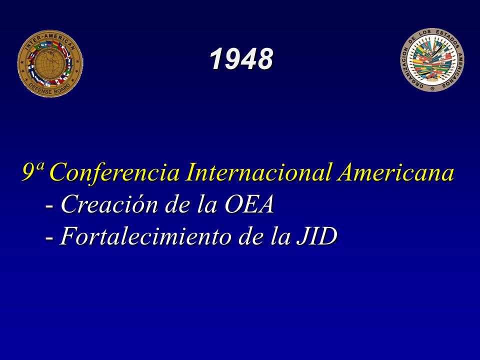 1948 9ª Conferencia Internacional Americana -Creación de la OEA -Fortalecimiento de la JID