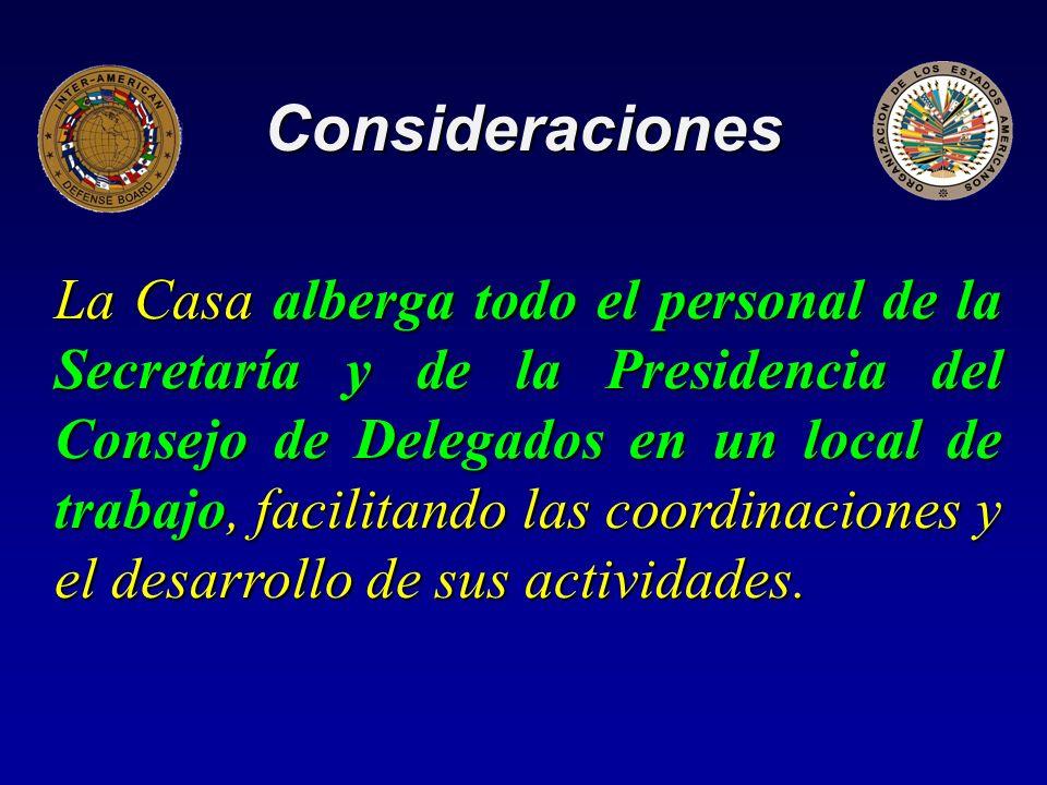 Consideraciones La Casa alberga todo el personal de la Secretaría y de la Presidencia del Consejo de Delegados en un local de trabajo, facilitando las coordinaciones y el desarrollo de sus actividades.