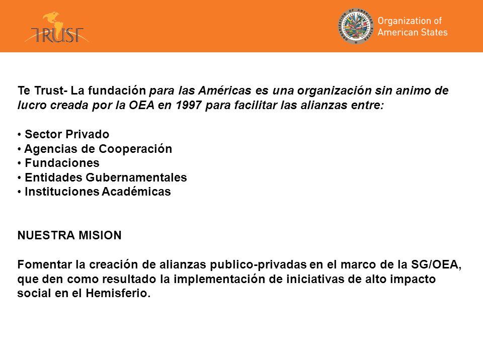 Te Trust- La fundación para las Américas es una organización sin animo de lucro creada por la OEA en 1997 para facilitar las alianzas entre: Sector Privado Agencias de Cooperación Fundaciones Entidades Gubernamentales Instituciones Académicas NUESTRA MISION Fomentar la creación de alianzas publico-privadas en el marco de la SG/OEA, que den como resultado la implementación de iniciativas de alto impacto social en el Hemisferio.