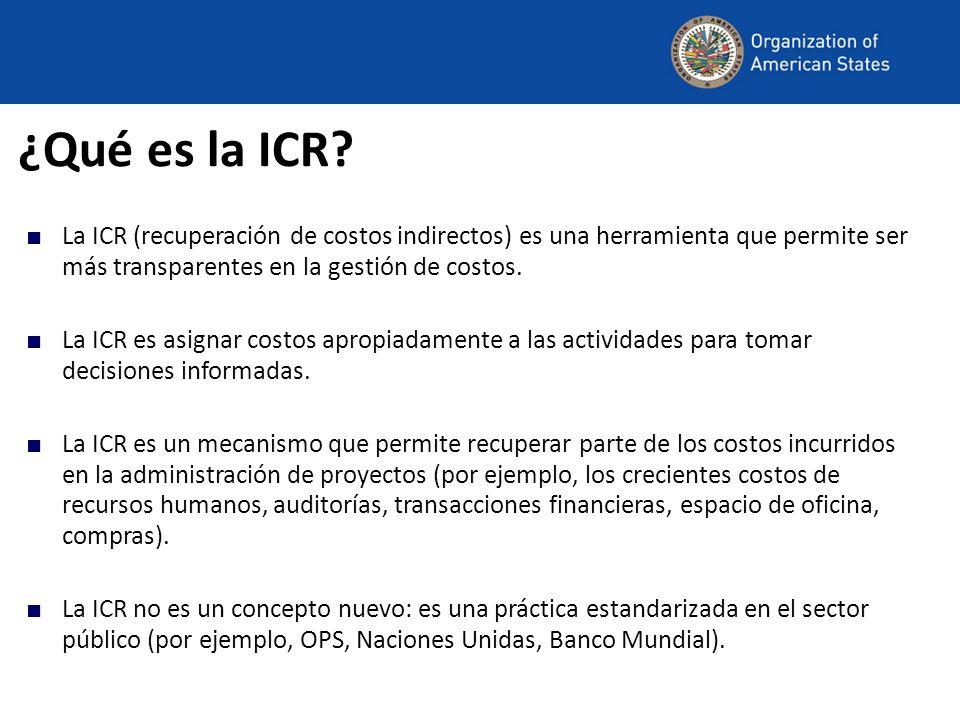 ¿Qué es la ICR? La ICR (recuperación de costos indirectos) es una herramienta que permite ser más transparentes en la gestión de costos. La ICR es asi